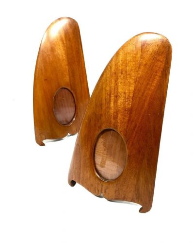 Art Deco Mahogany Wood Aeroplane Propeller Photo / Picture Frame Pair / Antique